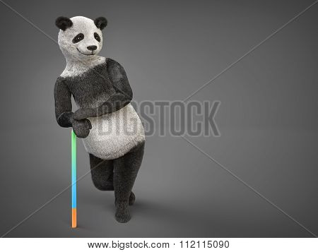 Personage Character Animal Bear Panda Leands On Cane