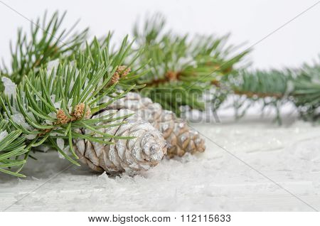 Christmas Wallpaper With Snow Fir Tree And Pinecones