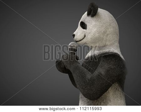 Personage Character Animal Bear Panda  Sing Song Microphone