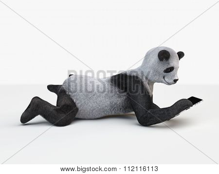 Side View Personage Character Fluffy Panda Electronic Tablet Laying At Isolated White Background