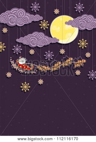 Christmas background with Santa Claus and reindeers (raster version)