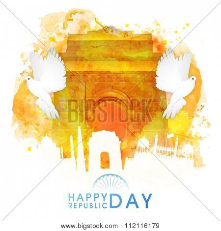Creative illustration of India Gate made by colour splash with flying pigeons and other monuments for Indian Republic Day celebration.