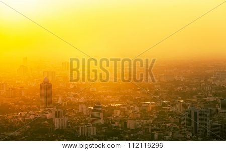 Aerial View To Bangkok Downtown In The Mist At Sunrise,  Thailand.