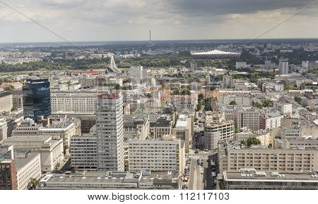 Warsaw, Poland - July 09, 2015 View From The Observation Deck Of The Palace Of Culture And Science.