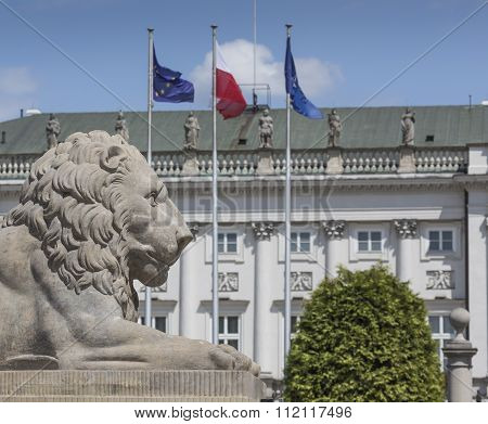 Warsaw, Poland - July 09, 2015: Lion And Prince Jozef Poniatowski Statue Seen In The Distance, By Da