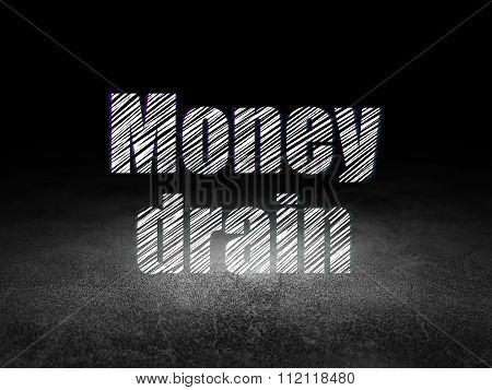 Banking concept: Money Drain in grunge dark room