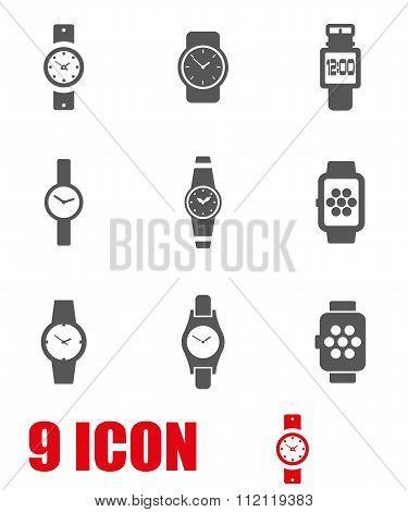 Vector Grey Wristwatch Icon Set