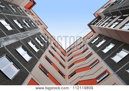 Multi-storey residential building view from above