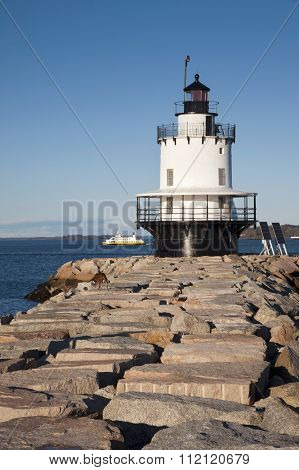 Lighthouse Guiding Mariners And Tour Boats