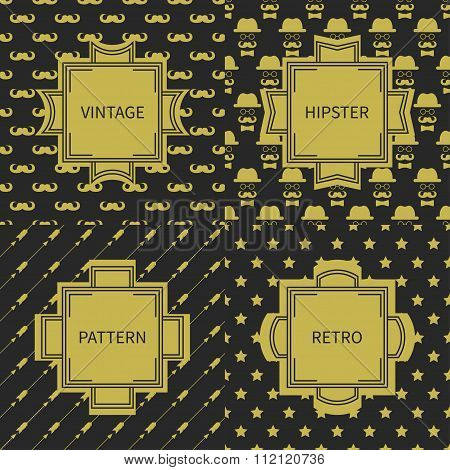 Set of gold hipster fashion geometric seamless pattern with mustache. Collection of wrapping paper.