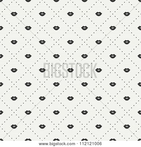 Romantic hipster lips kiss seamless pattern. Wrapping paper. Scrapbook paper. Tiling. Vector illustr