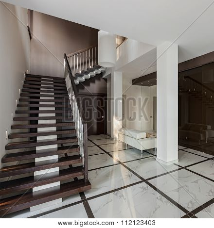 Luxury Hall Interior With Staircase And Glass Wardrobe