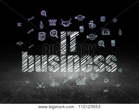 Business concept: IT Business in grunge dark room