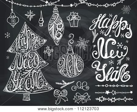 Christmas tree,bals.New year Lettering,decor