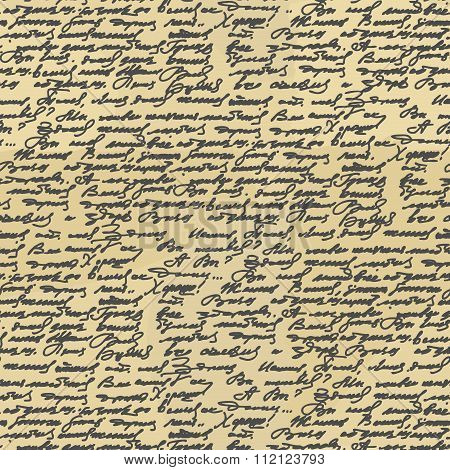 Handwriting Seamless Pattern. Old Abstract Letter. Ancient Writings. Calligraphy Texture To Fabric.