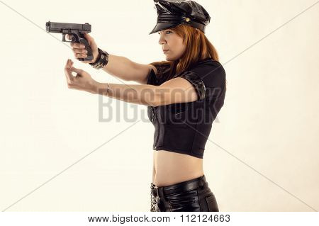 woman police officer aiming a pistol and hand gestures