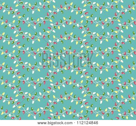 Seamless Winter Holidays Pattern with Christmas Lights Isolated