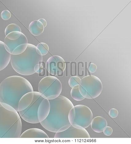 Transparent blue soap bubbles on grayscale