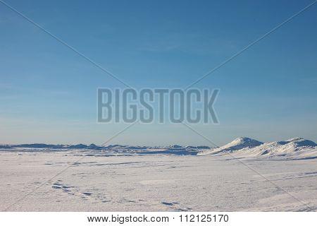 the Arctic landscape. snow plain and sky