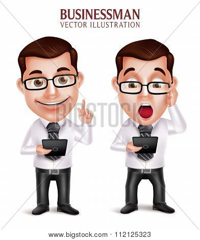Professional Business Man Vector Character Holding Mobile Tablet Shocked