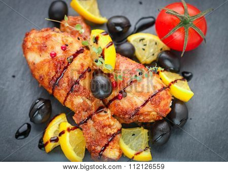 Roast Chicken With Lemon, Olives, Tomato And Thyme With Balsamic Vinegar