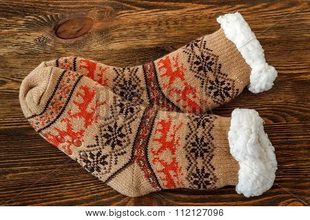 knitted socks with fur