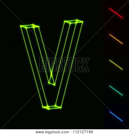 EPS10 vector glowing wireframe letter V - easy to change color