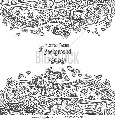 Abstract pattern background in Zen-doodle style black on white