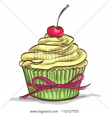 Ice cream sundae cupcake with cherry, excellent vector illustration, EPS 10