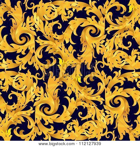Golden seamless vector victorian baroque  background . Renaissance decorations