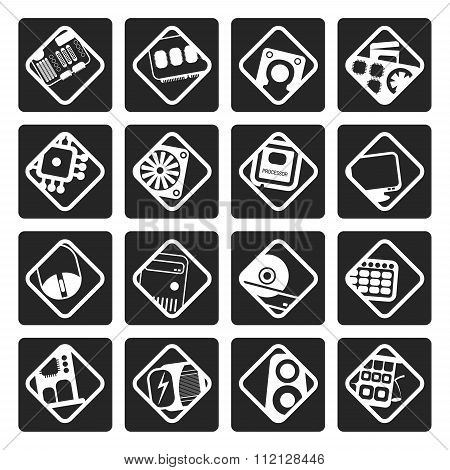 Black Computer performance and equipment icons