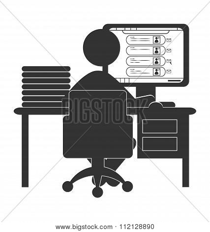 Flat computer icon with social network website isolated on white