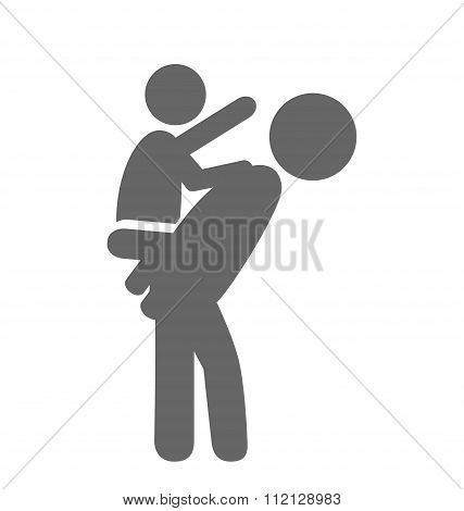 Father and baby play pictogram flat icon isolated on white