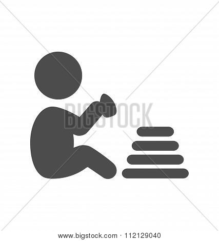 Baby plays with pyramid pictogram flat icon isolated on white