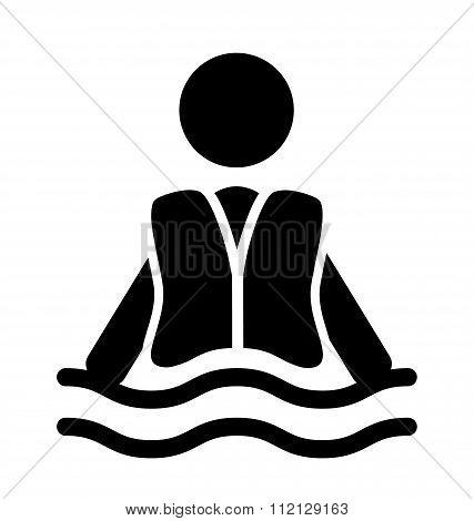 Swim water jacket information flat people pictogram icon isolate