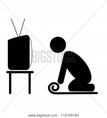 TV yoga tutorial lesson man pictogram flat icon isolated on whit