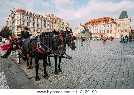 Old-fashioned Coach And Coachman At The Old Town Square in Pragu