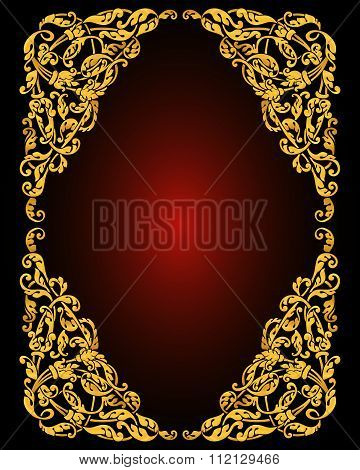 Abstract background with antique, luxury black and gold vintage frame, baroque style booklet, templa