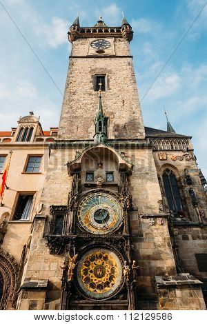 Tower of town hall in Prague, Czech Republic.