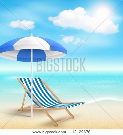 Beach with Sun Beach Umbrella Beach Chair and Clouds. Summer Vac
