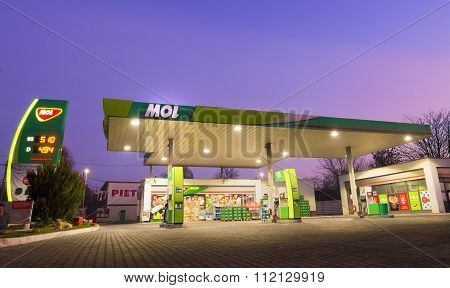 Galati, Romania - December 14, 2015. Mol Gas Station. Mol Group (hungarian Oil And Gas Public Limite