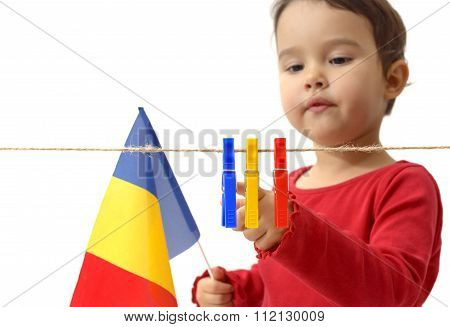 Little Girl With The Romanian Flag On White Background