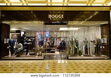 SINGAPORE - NOVEMBER 08, 2015: exterior of Boggi Milano store. Boggi Milano is an Italian menswear brand founded in 1939