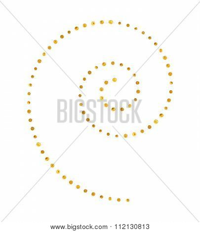 Spiral pattern of golden dots.
