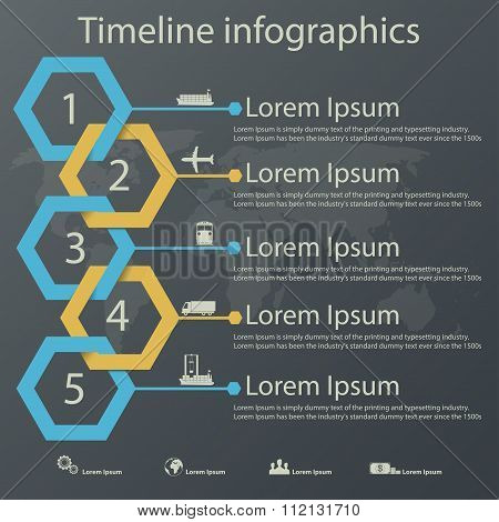 Timeline Infographics For Shipping Company