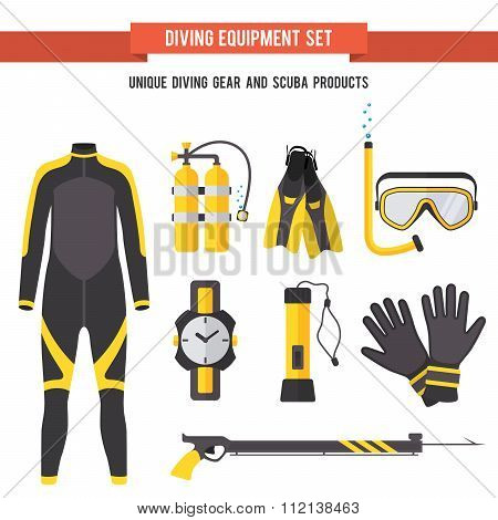 Set flat elements for diving and spearfishing