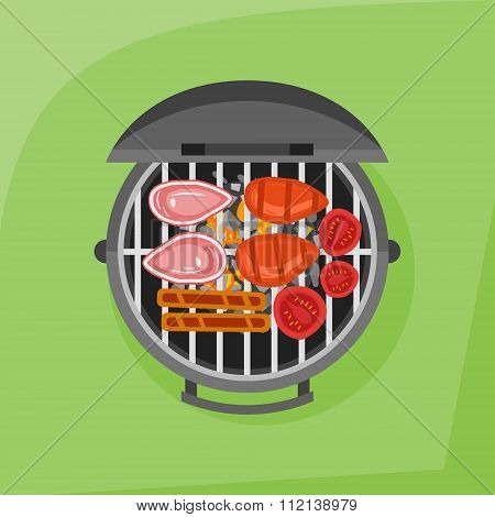 Barbecue and grilled steak, sausage and tomato