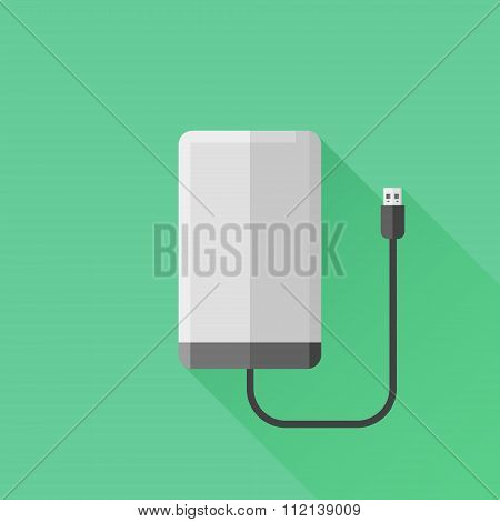 Portable hard drive disk flat icon