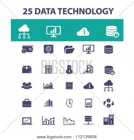 data technology, database, hosting, analytics  icons, signs vector concept set for infographics, mobile, website, application