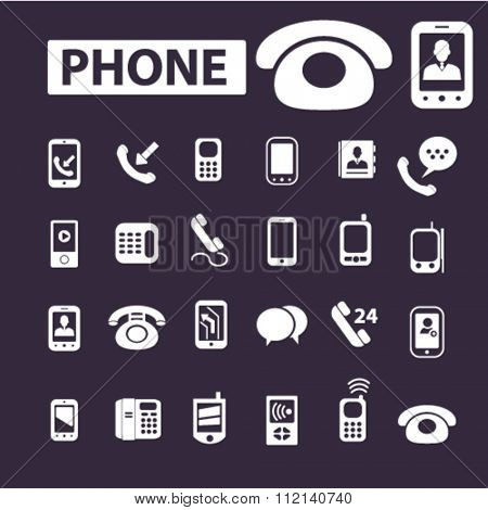Phone icon,  communication concept,  email icon,  telephone icon, phone, telephone, cell  icons, signs vector concept set for infographics, mobile, website, application